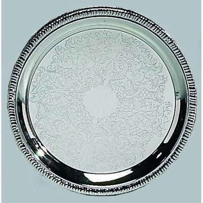 """New Leeber 12"""" Silver Round Tray"""