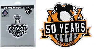 "2017 Stanley Cup Final & Pittsburgh Penguins Patch Set ""50 Years"" Anniversary"