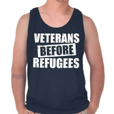 Veterans Before Refugee Shirt USA American Flag VFW Army Cool Tank Top