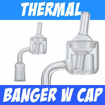 Quartz Thermal Banger with Cap 14mm & 18mm Female & Male 90 Degree USA SHIPPING