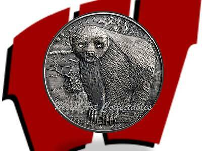 2015 HONEY BADGER - 2 OZ SILVER - BRAVE ANIMALS - 1st COIN IN SERIES !