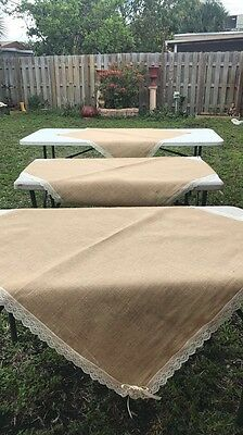 """6PC Natural BURLAP 40""""X40""""TABLE OVERLAY Rustic Wedding Party Catering Decoration"""