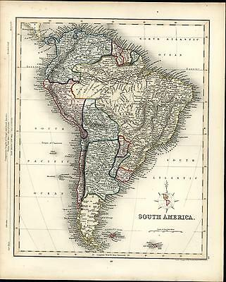 South America continent Brazil Argentina Chile 1848 Gilbert old antique map