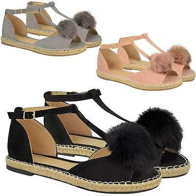 Ladies Womens Espadrilles Shoes Summer Flat Peep Toe Ankle Pom Pom Sandals Size