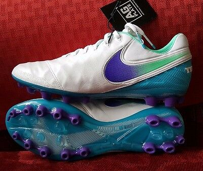 Nike Tiempo Legend Vi Ag-R Womens Soccer Cleats Size 8 White Blue 827249-155