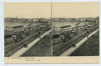 Photo Stereoview Postcard Of Tram At Margate