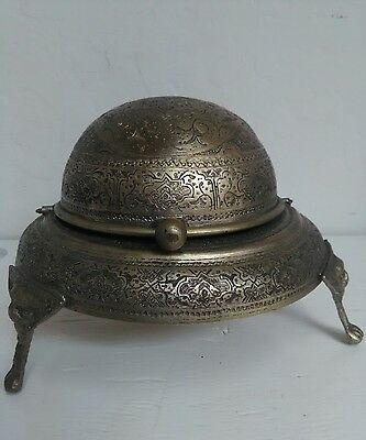 RARE 18thC Antique Hand Engraved Silver Plated Bronze Copper Butter Dish