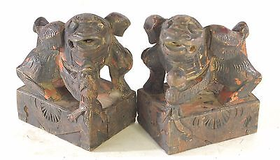 Pair of Antique Chinese Wood Carved Statue of Foo Dog Lion, Qing Dynasty, 19th c