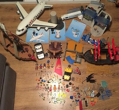 Massive Bundle Playmobil Accessories Parts Ships Plane Cars Airport Police Jeep