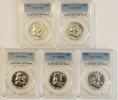 1955 Franklin Lot of 5 Halves PCGS Proof PR64 $50 each
