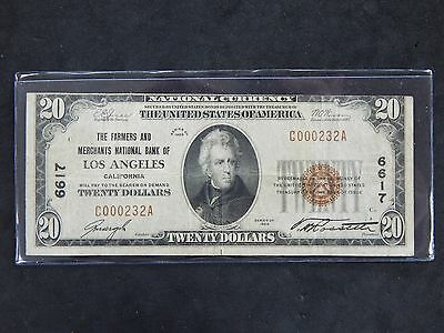 1929 $20 National Currency Farmers and Merchants Bank of Los Angeles Type I