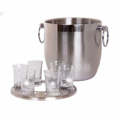 Oggi Stainless Steel Double Wall Vodka Bucket with Holder and 6 Shot Glasses
