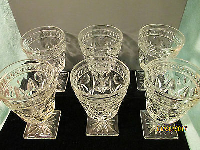 Lot Of 6 Indiana Glass Thumbprint Square Footed 5 Inch Goblets