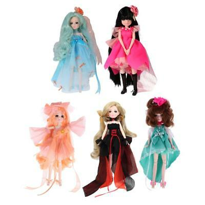 5 Pcs 27cm Vinyl Dressed Body Doll Ball Jointed Doll Kids Toy Birthday Gift