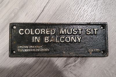 BLACK AMERICANA IRON SIGN PLAQUE Colored Must Sit In Balcony racism segregation