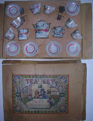 Rare Antique Child Tea Set Hand Painted From Japan W/ Box - Hand Made ?????