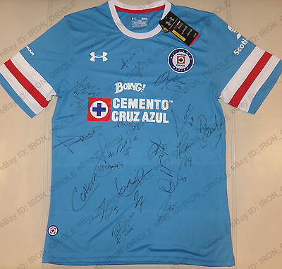 2017 CRUZ AZUL team signed UNDER ARMOUR home soccer jersey with REAL PROOF