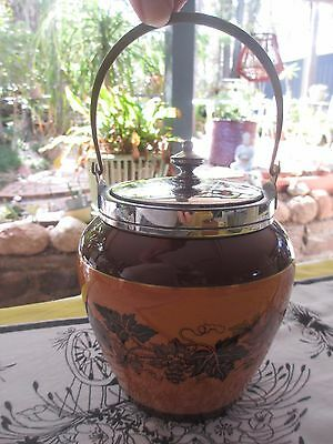 Antique  Meriden B Company Biscuit Barrel with silver plated rim & lid,gold trim