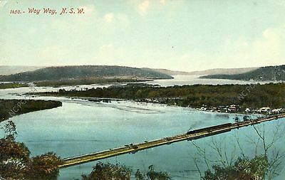 vintage postcard Woy Woy NSW Australia early 1900s train across water