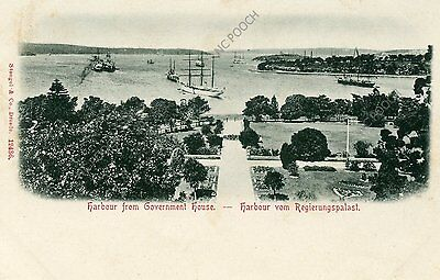 vintage postcard Harbour from Government House NSW Australia tallships 1900s