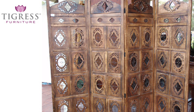 "Oval ""Jali"" Timber Hand Carved Wooden Screen Brown"