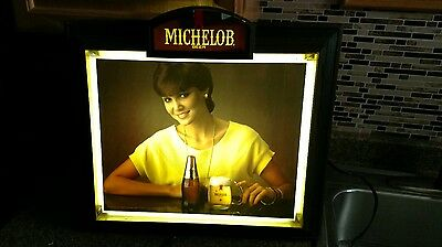 Original Vintage Michelob Beer 1980s Woman Lighted Sign bar advertising