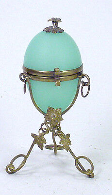 Antique French Green Opaline Glass Egg Jewelry Casket Ring Box Holder Stand