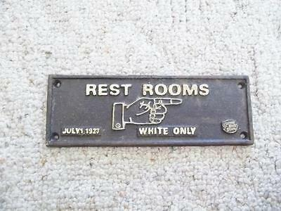 1927 Cast Iron Sign White Only Rest Room Black Americana Segregation Railroad