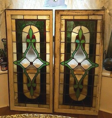ANTIQUE PAIR STAINED GLASS HOUSE WINDOWS  44'' x 19 1/2'' RED JEWEL IN CENTER