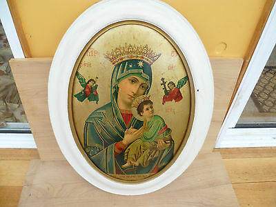 Vintage Old Large Timber Framed Card Religious Picture