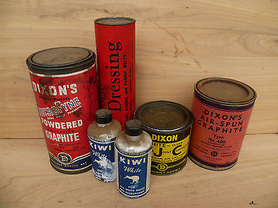 Vintage Old Workshop, Graphite Kiwi Advertising Tins Lot, 'no.2'