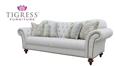 """""""Orleans"""" Fabric Linen French Provincial Sofa Lounge 3 Seater"""