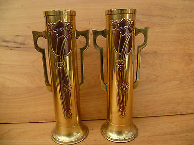 Old Very Nice Pair Of Art Nouveau Flower Vases (817)