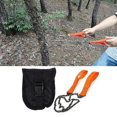 Portable Survival Chain Saw Chainsaw Emergency Camping Pocket Hand Tool Pouch B