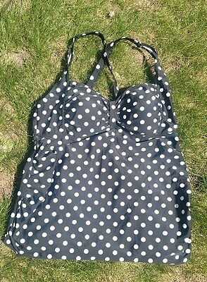 motherhood maternity size L large swimsuit top tankini black polka dots euc!