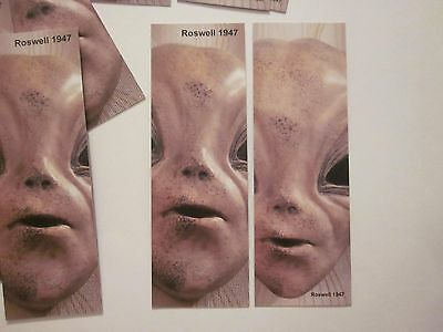 Bookmarks Roswell Nm Ufo Set Of 4 Alien Face Double Sided Area 51 Souvenir #63