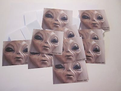 ROSWELL ALIEN UFO NOTE CARDS WITH ENVELOPES 10 ITEMS 5.5x4 COLLECTIBLES #61