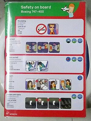 Airlines safety cards - virgin atlantic X 7