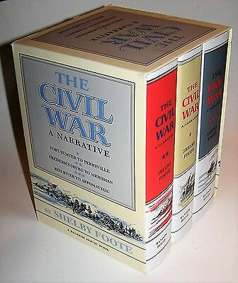NICE! The Civil War: A Narrative by Shelby Foote 3 Volume Hardcover Book Box Set