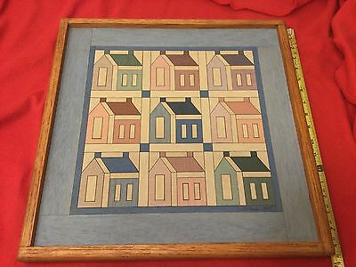 Detweiler original wood inlay Amish style quilt wall hanging, Schoolhouse.