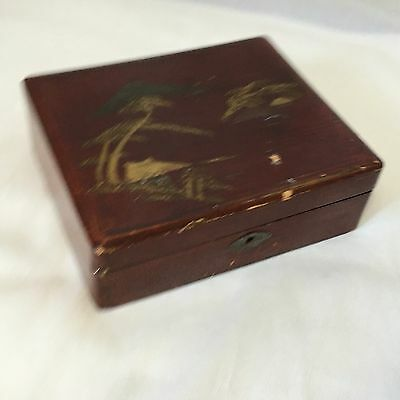 Antique Vintage Japanese Brown Black Lacquered Hinged Jewellery ? Tea Box Gilded