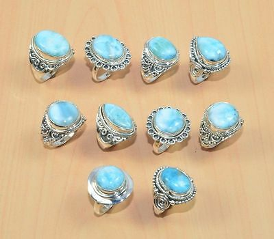 Wholesale 10Pc 925 Solid Sterling Silver Natural Blue Larimar Classic Ring Lot