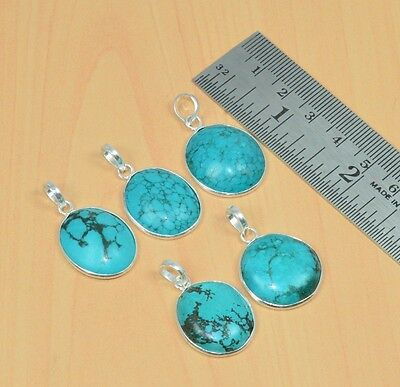 Wholesale 5Pc 925 Solid Sterling Silver Natural Turquoise Pendant Lot 16.4Gm