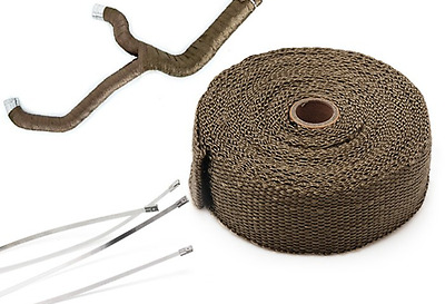"Titanium Turbo Manifold Heat Exhaust Thermal Wrap Tape & Stainless ties 2""x10m"