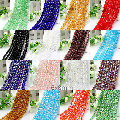 Lots Color 30pcs Faceted Glass Crystal Finding Teardrop Spacer Loose Beads 6x8mm