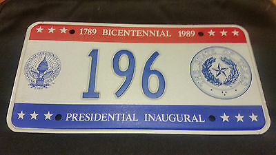 1989 District Of Columbia Inaugural 196 Seal Of Texas License Plate