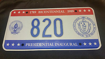 1989 District Of Columbia Inaugural 820 Seal Of Massachusetts License Plate