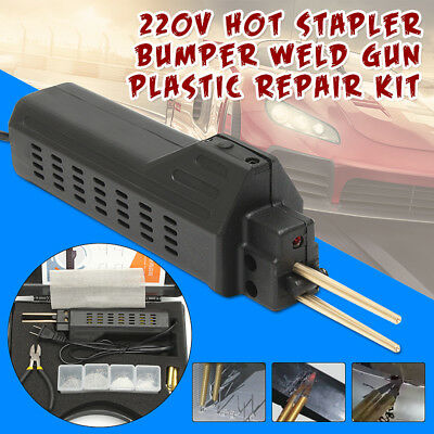 220V Car Hot Stapler Kit Bumper Plastic Welding Gun Torch Repair + 200x Staples