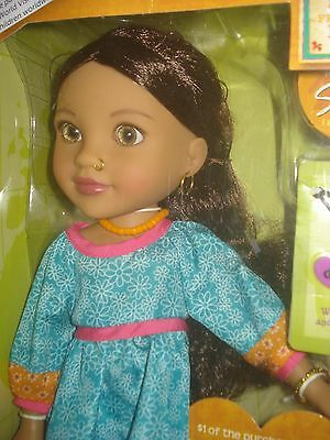 """NEW &  NRFB Original Hearts For Hearts SURJAN from Nepal HTF Retired Doll 14"""""""