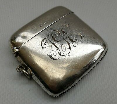 Vtg Art Nouveau 1911 Thomas & Marshall Solid Silver Chatelaine Vesta Match Case